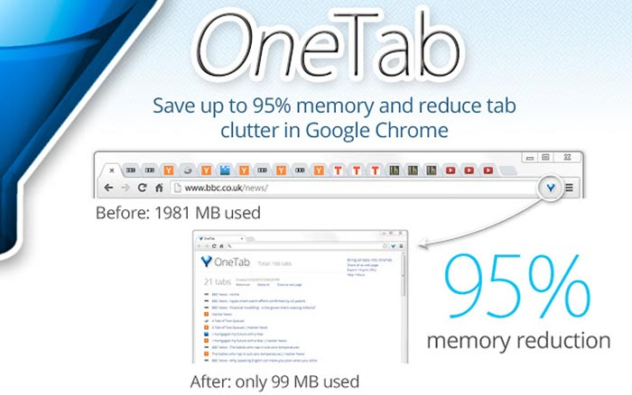 Download OneTab from the Google Chrome App Store