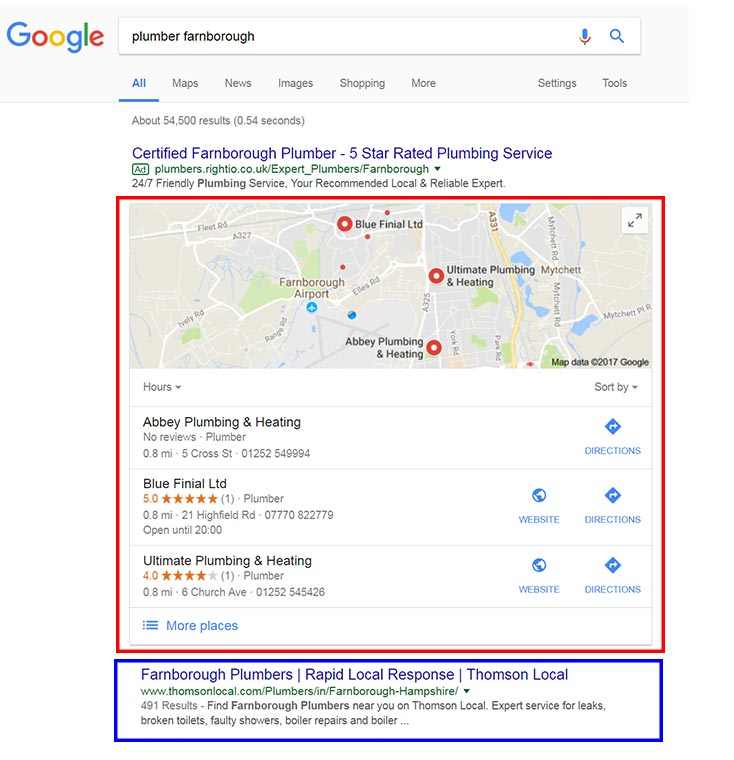 Example of a Google local pack result on a local business search