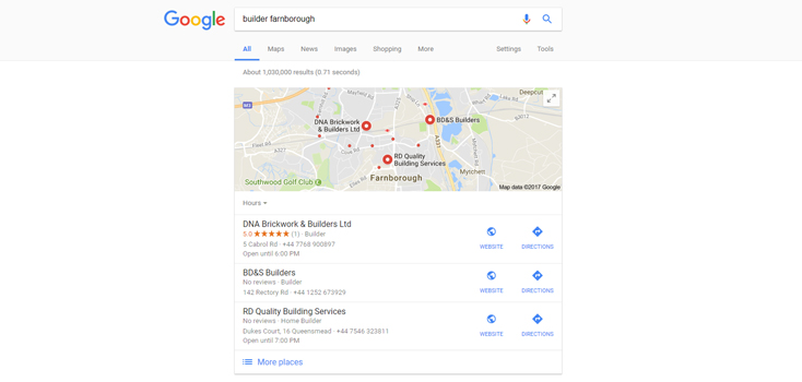 An example of a local pack result on Google for a local business