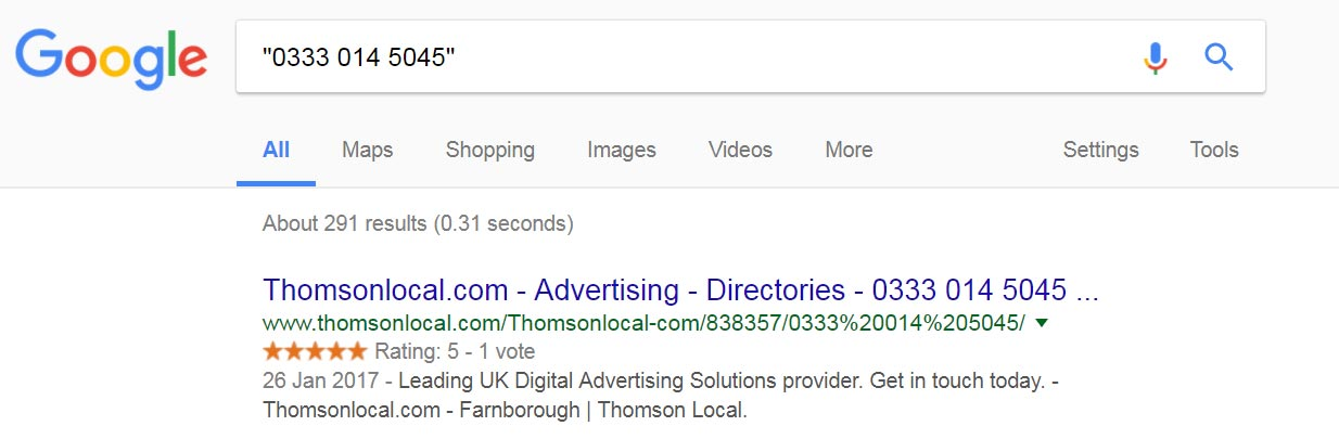 Example of an exact phrase match on Google search to help find local business citations using an existing phone number