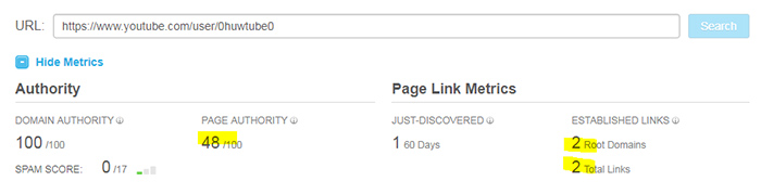Huw Samuel's YouTube channel homepage page authority