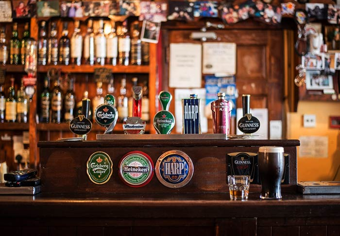 The bar of a typical Irish pub