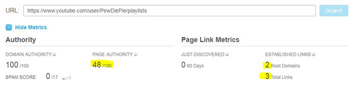 Pewdiepie YouTube playlist page authority score