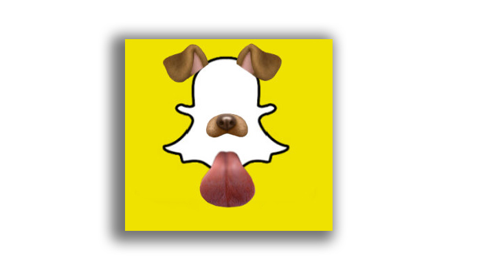 Snapchat logo with dog tongue