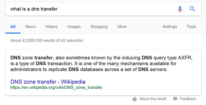 What is a DNS transfer?