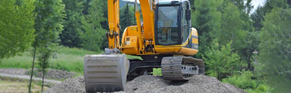 An example of a local builder using a JCB digger during a construction job