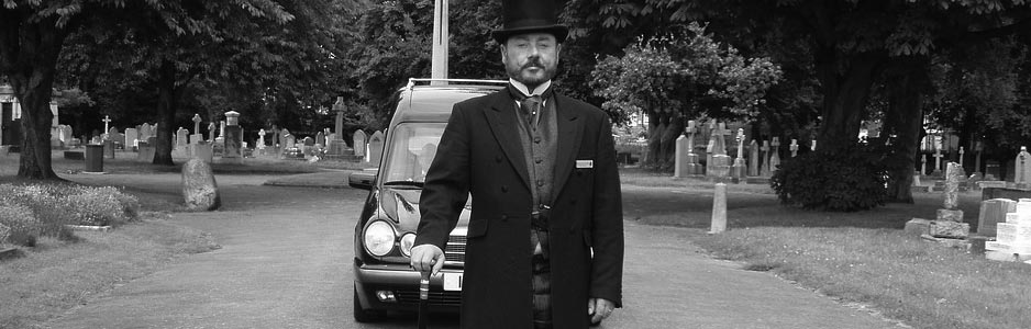 Example of a funeral director in black and white for the funeral directors guide on Thomson Local
