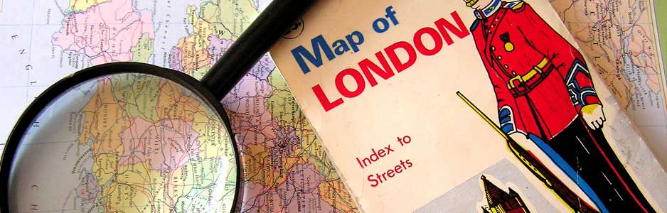 An example of a London map which is used to memorise street names for the knowledge test