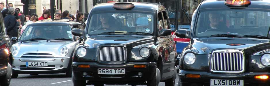 An example of a London cabs carrying out common taxi services such as airport transfers and long distance pickups