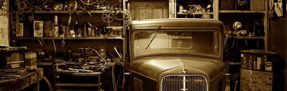An example of a vintage car garage with tools and equipment for repairing cars